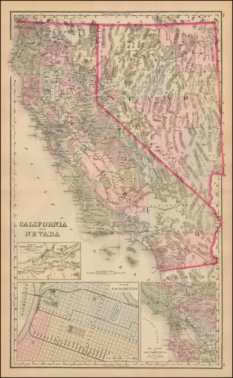 51-Nevada, California and Yosemite Map By O.W. Gray & Son