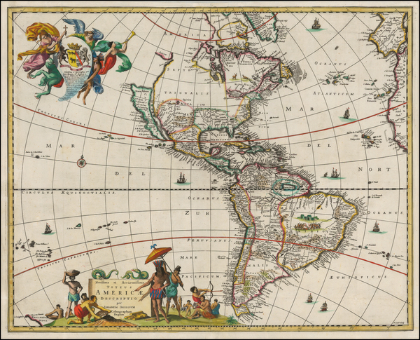 32-Western Hemisphere, South America and America Map By John Ogilby