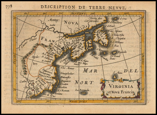 11-New England, Mid-Atlantic, Canada and South America Map By Petrus Bertius