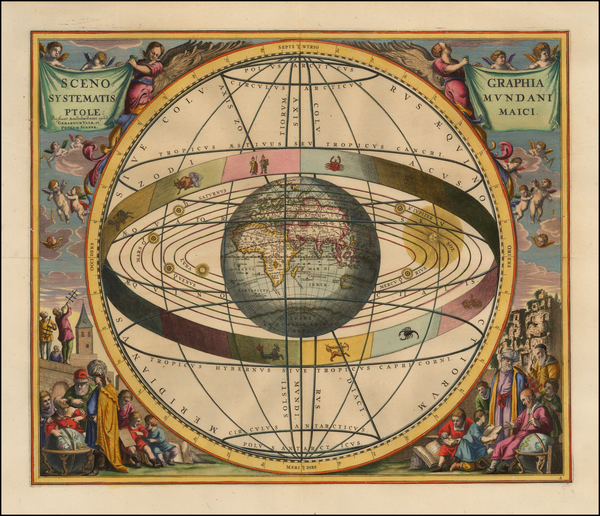 58-Eastern Hemisphere, Indian Ocean and Celestial Maps Map By Andreas Cellarius / Gerard & Leo