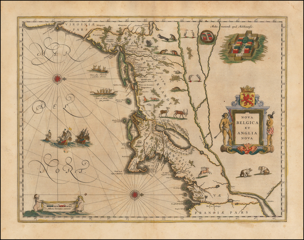 31-New England, New York State and Mid-Atlantic Map By Willem Janszoon Blaeu