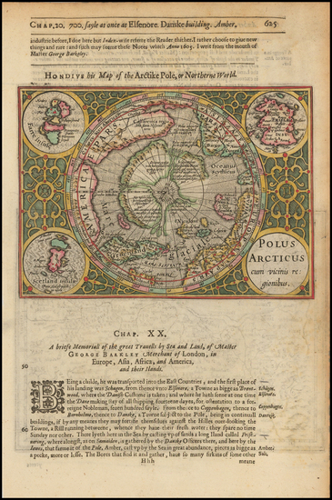 33-Polar Maps Map By Henricus Hondius / Samuel Purchas