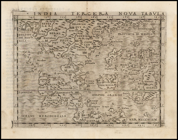 78-Southeast Asia, Philippines and Other Islands Map By Giacomo Gastaldi