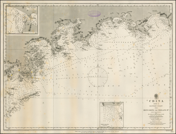 China and Hong Kong Map By British Admiralty