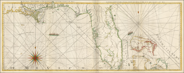 Florida, South, Southeast and Bahamas Map By Thomas Jefferys