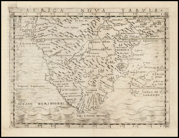 92-South Africa and African Islands, including Madagascar Map By Giacomo Gastaldi