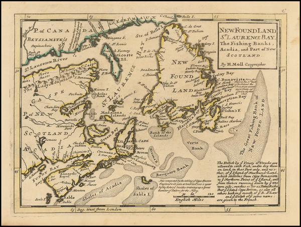 77-Eastern Canada Map By Herman Moll