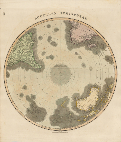 93-World, Southern Hemisphere, Polar Maps, Oceania and New Zealand Map By John Thomson