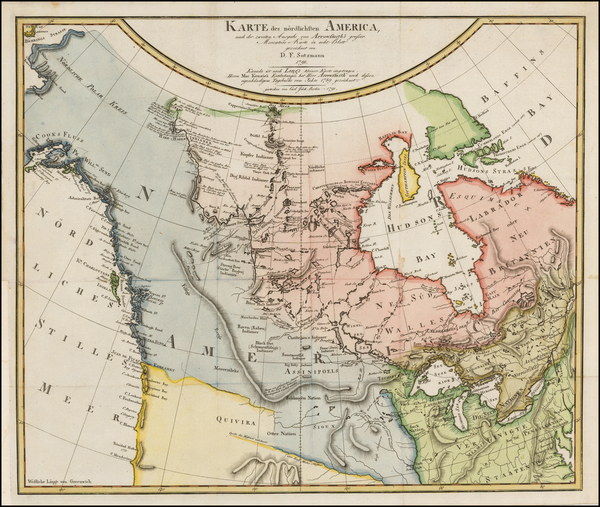66-Polar Maps, Alaska and Canada Map By Daniel Friedrich Sotzmann