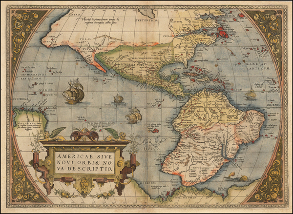 53-Western Hemisphere, South America and America Map By Abraham Ortelius
