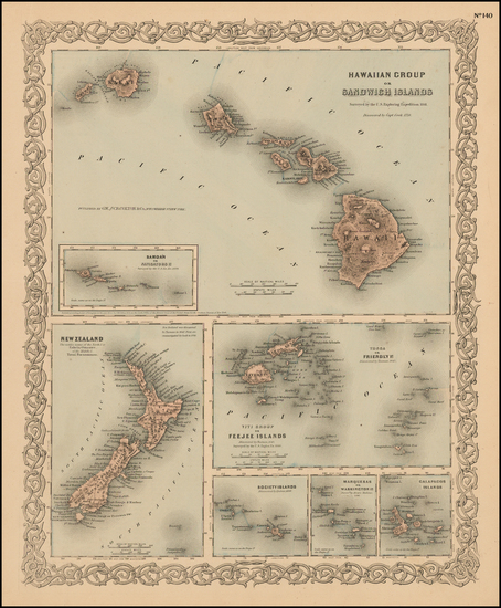 24-Hawaii, Hawaii and Other Pacific Islands Map By Joseph Hutchins Colton