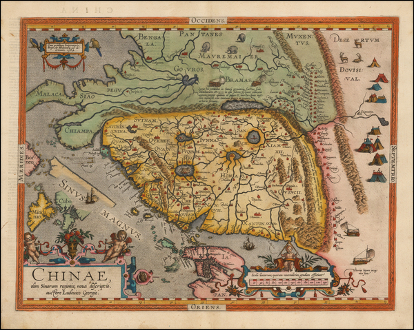 58-China, Japan, Southeast Asia and Philippines Map By Abraham Ortelius