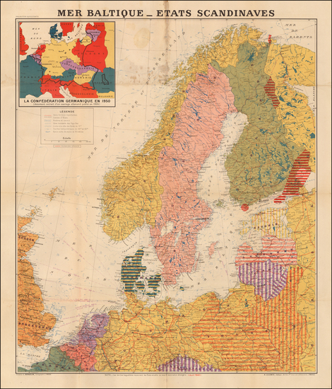 Europe, Europe, Germany, Poland, Czech Republic & Slovakia, Baltic Countries, Scandinavia and Denmark Map By L. Bergalin