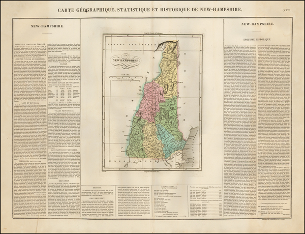 90-New England and New Hampshire Map By Jean Alexandre Buchon