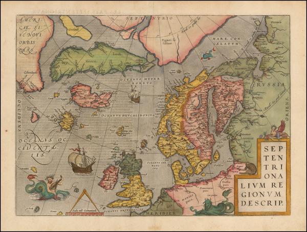 73-Atlantic Ocean, British Isles, Scandinavia and Balearic Islands Map By Abraham Ortelius