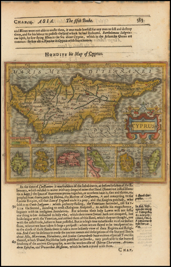 96-Greece and Cyprus Map By Jodocus Hondius / Samuel Purchas