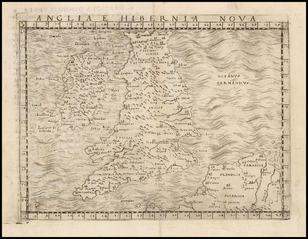 22-British Isles Map By Giacomo Gastaldi