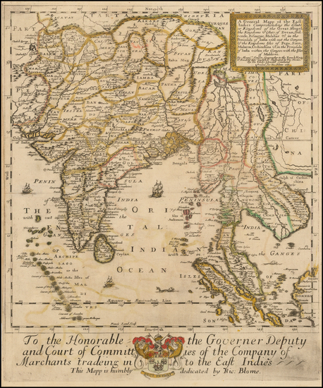 97-India, Southeast Asia, Malaysia and Thailand, Cambodia, Vietnam Map By Richard Blome