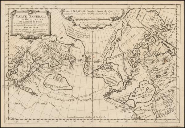 74-Polar Maps, Alaska, Canada and Russia in Asia Map By Joseph Nicholas de L'Isle