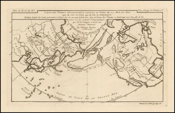 63-Polar Maps, Alaska, North America, Canada and California Map By Philippe Buache