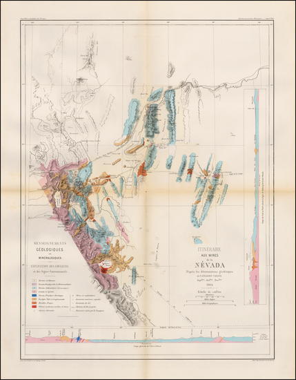 78-Southwest, Nevada and California Map By Edmond Guillemin-Tarayre