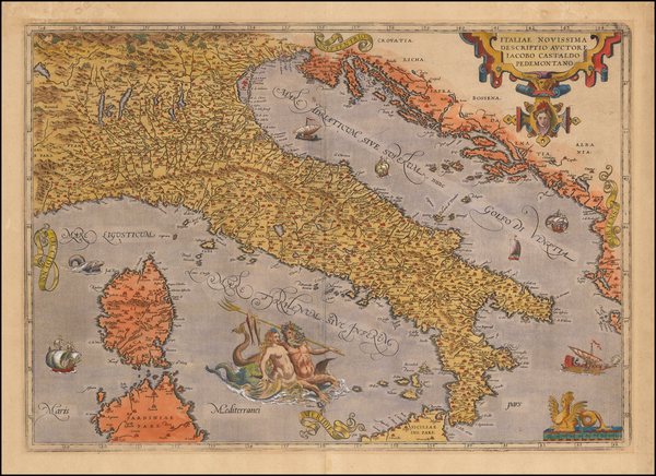 34-Italy Map By Abraham Ortelius