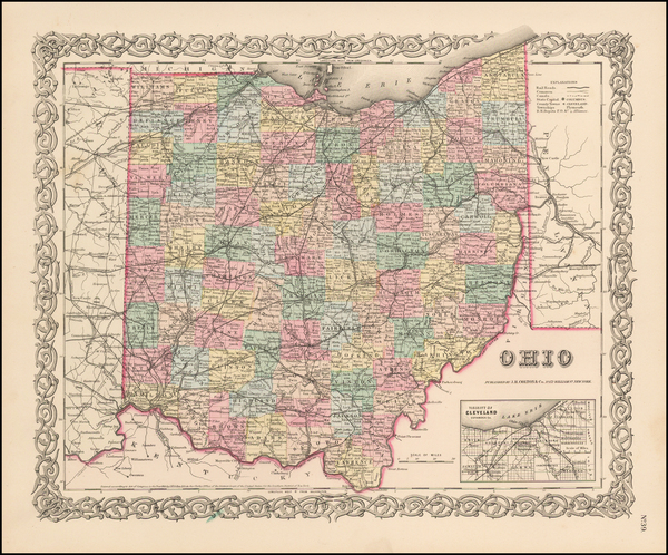 34-Midwest and Ohio Map By Joseph Hutchins Colton