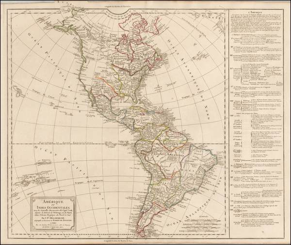 54-South America and America Map By Didier Robert de Vaugondy / Charles Francois Delamarche