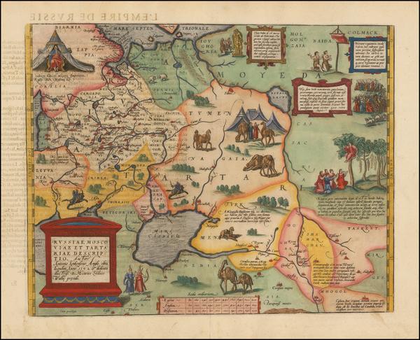 10-Russia, Ukraine, India, Central Asia & Caucasus and Russia in Asia Map By Abraham Ortelius