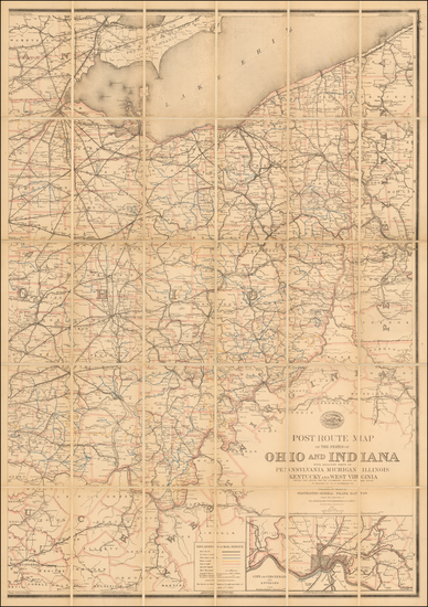 32-Midwest and Ohio Map By United States Post Office