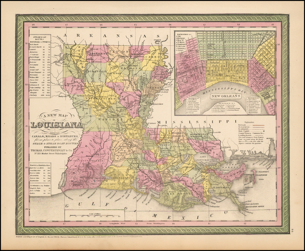 31-South and Louisiana Map By Thomas Cowperthwait & Co.