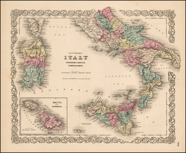 27-Italy, Mediterranean and Balearic Islands Map By Joseph Hutchins Colton