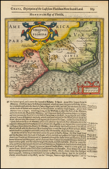 84-Mid-Atlantic, Southeast and Virginia Map By Jodocus Hondius / Samuel Purchas