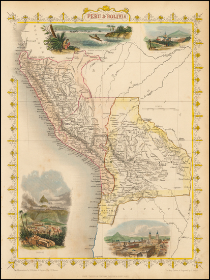 25-South America, Paraguay & Bolivia and Peru & Ecuador Map By John Tallis