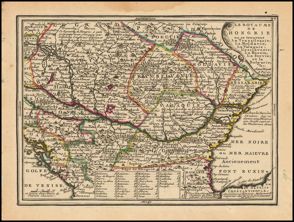 Hungary, Romania, Balkans and Bosnia & Herzegovina Map By Jacques Chiquet