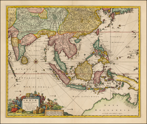 99-China, India, Southeast Asia and Australia Map By Nicolaes Visscher I