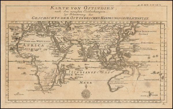 73-Indian Ocean and Australia Map By Johann Justine Gebauers