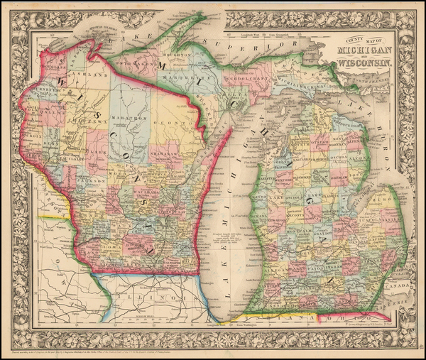 70-Midwest, Michigan and Wisconsin Map By Samuel Augustus Mitchell