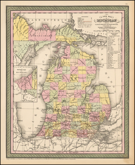 60-Midwest and Michigan Map By Thomas Cowperthwait & Co.