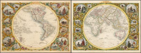 57-World, Eastern Hemisphere, Western Hemisphere, South America and America Map By John Tallis