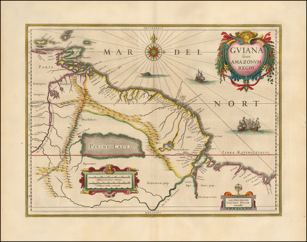 46-South America, Brazil and Guianas & Suriname Map By Willem Janszoon Blaeu