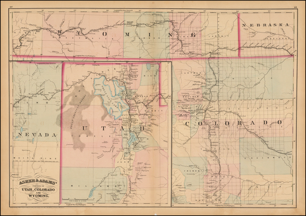 29-Colorado, Utah, Nevada, Colorado, Utah and Wyoming Map By Asher  &  Adams