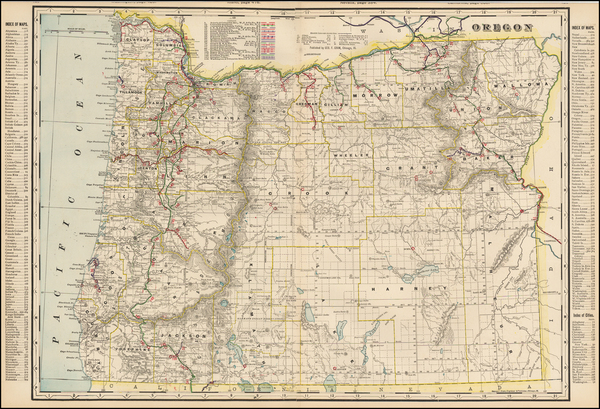 80-Oregon Map By George F. Cram