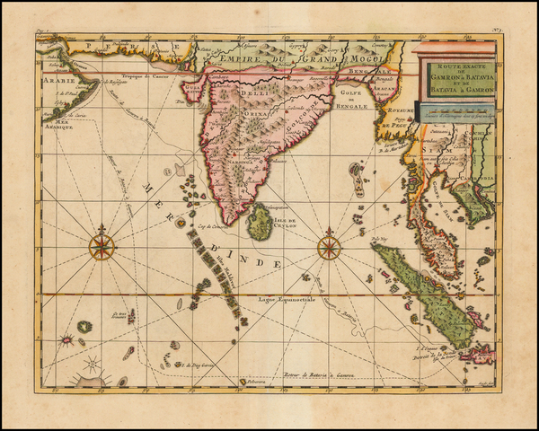38-Indian Ocean, India and Southeast Asia Map By Cornelis De Bruyn