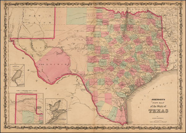 42-Texas Map By Alvin Jewett Johnson  &  Browning