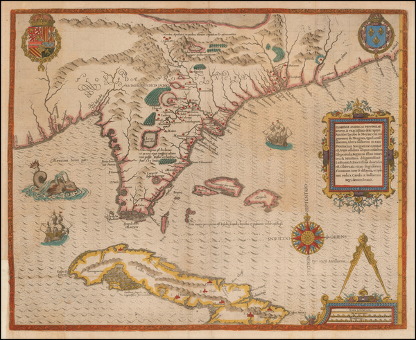 17-Florida, South, Southeast, Midwest, Cuba and Bahamas Map By Jacques Le Moyne