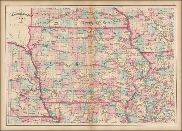 50-Midwest, Plains and Iowa Map By Asher  &  Adams