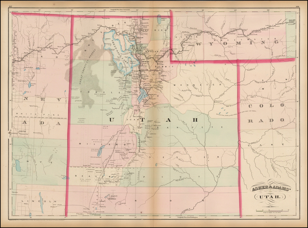 56-Southwest, Rocky Mountains and Utah Map By Asher  &  Adams