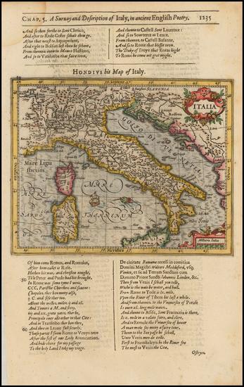 57-Italy Map By Jodocus Hondius / Samuel Purchas