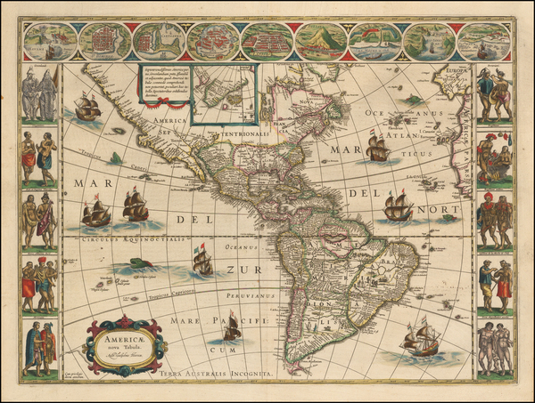 13-Western Hemisphere, South America and America Map By Willem Janszoon Blaeu